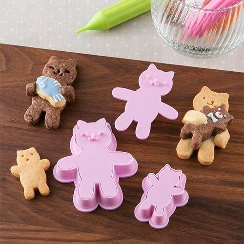 苗源烘焙原物料:日本貝印COOKPAD表情餅乾壓模站立小貓3入餅乾模組