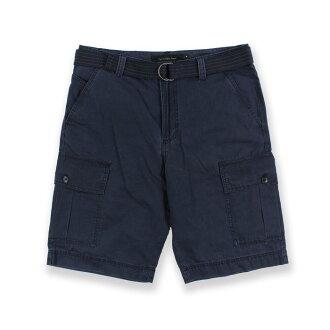 美國百分百【全新真品】Calvin Klein 短褲 CK 休閒褲 工作褲 褲子 五分褲 口袋 附腰帶 深藍 30腰 I124