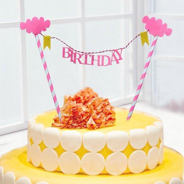 =優生活=【促銷$79】生日快樂 BIRTHDAY 藍粉雲朵生日蛋糕插旗拉旗拉花裝扮用品 婚慶婚禮裝飾 野餐派對 情人節裝飾