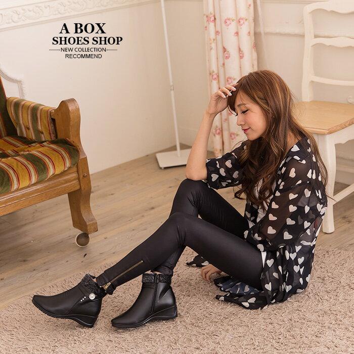 格子舖*【KRA06】極簡時尚名媛 奢華絨毛滾邊 楔型厚底增高皮革短筒靴 黑色 1