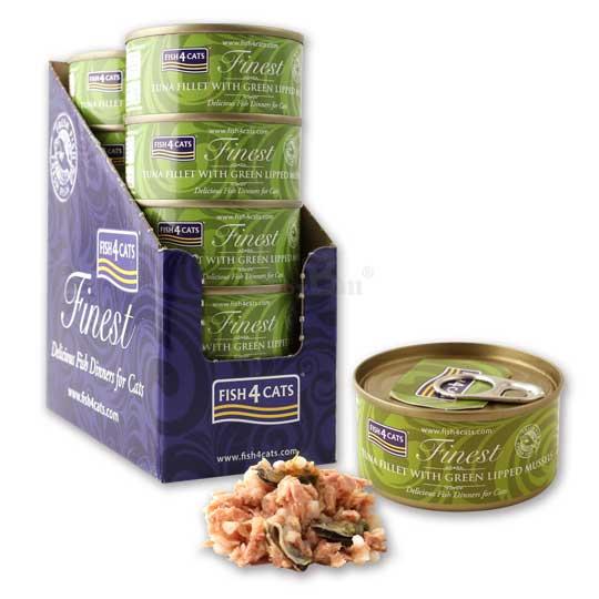 【海洋之星FISH4CATS】鮪魚綠唇貝貓罐 70g (10罐/盒)