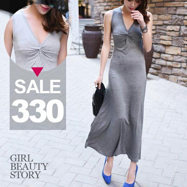 SISI【D7098】深V領無袖扭結設計修身顯瘦莫代爾棉連身長裙洋裝