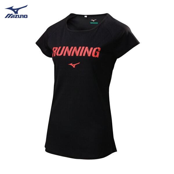 J2TA821309(黑)熱遮蔽材質女路跑短袖T恤【美津濃MIZUNO】