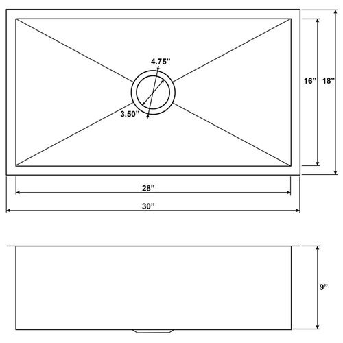 """Golden Vantage 30"""" x 18"""" x 9"""" 16 Gauge Stainless Steel Undermount Single Bowl Kitchen Sink 1"""