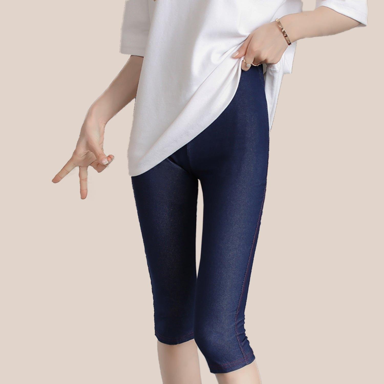 內搭褲--質感時尚仿牛仔褲設計與材質舒適彈性七分萬搭褲(黑.藍XL-3L)-P85眼圈熊中大尺碼 0
