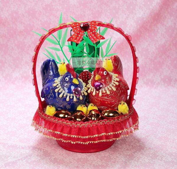 一定要幸福哦~~卡哇依Q版帶路雞(紅、藍)、起家(雞)~婚禮小物結婚歸寧入厝專用
