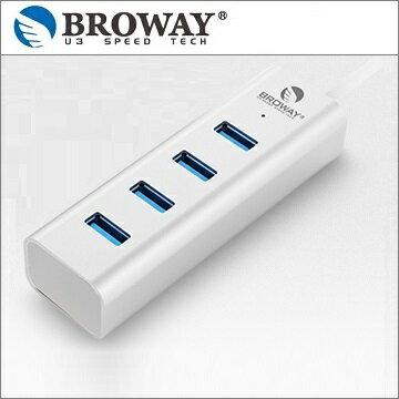 BROWAY 5Gbps 極速 USB3.0 4埠 HUB集線器 鋁合金 時尚銀