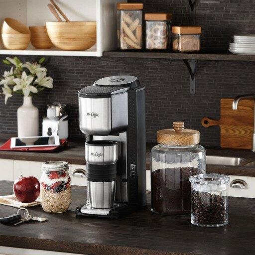 Mr. Coffee Single Cup Coffeemaker with Built-in Grinder, with Travel Mug Included BVMC-SCGB200 0000a870681c10c1494382f7a0009a65