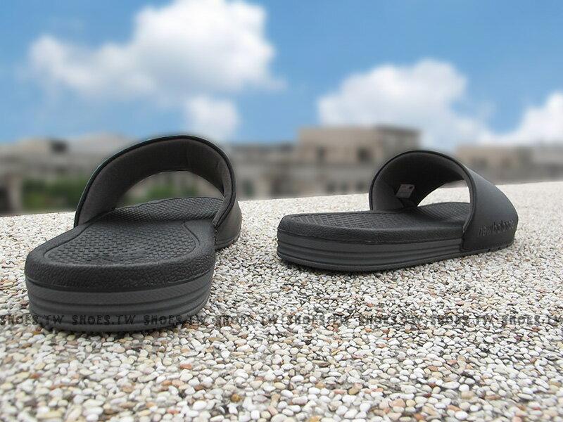 [最後尺寸:23cm]《下殺6折》Shoestw【M3068BK】NEW BALANCE 拖鞋 NB大LOGO 黑銀 運動拖鞋 男女尺寸都有 2