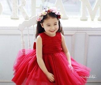 天使嫁衣:天使嫁衣【童C0130】紅色無袖素雅網紗澎澎短禮服˙現貨特價出清