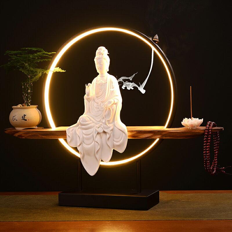 大號創意中式倒流香爐燈圈觀音擺件沉香檀香熏爐現代簡約客廳裝飾