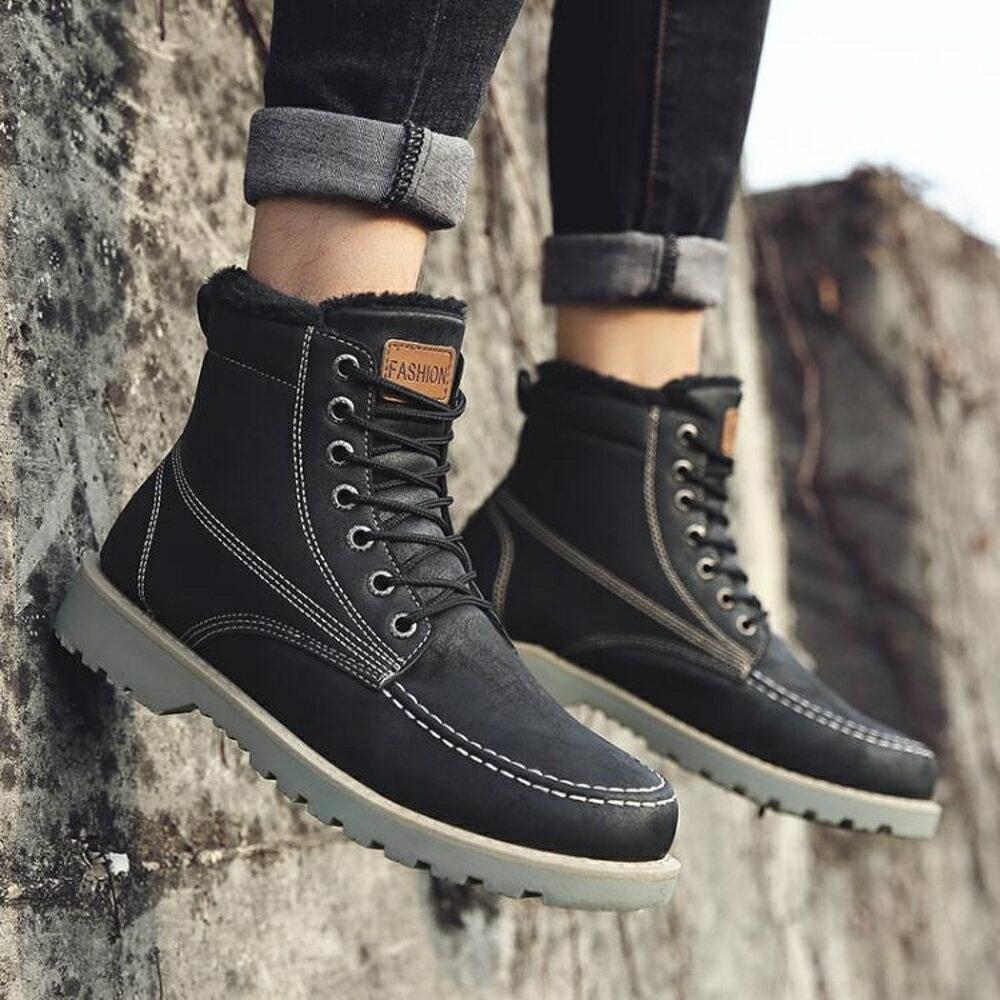 馬丁靴 馬丁靴男靴子秋冬季高筒皮靴加絨保暖棉鞋軍靴英倫短靴男雪地潮靴     非凡小鋪