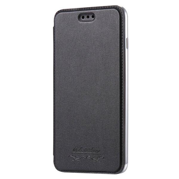 Outlet特價品AppleiPhone7Plus8Plus共用透明電鍍邊框側掀美背皮套手機殼保護套太空灰專區1隨機出貨$79