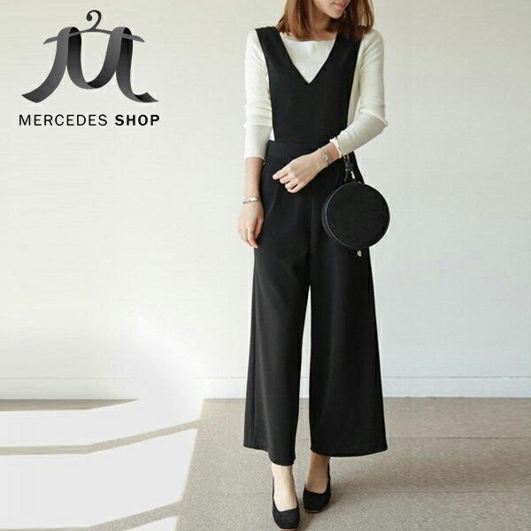 梅西蒂絲Mercedes Shop:《全店75折》V領舒適百搭背帶連身寬褲(M-XL,2色)-梅西蒂絲(現貨+預購)
