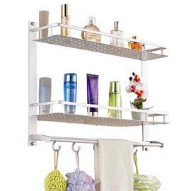 雙層63cm長特價浴室置物架衛生間置物架壁掛太空鋁毛巾架洗手間置物架毛巾桿