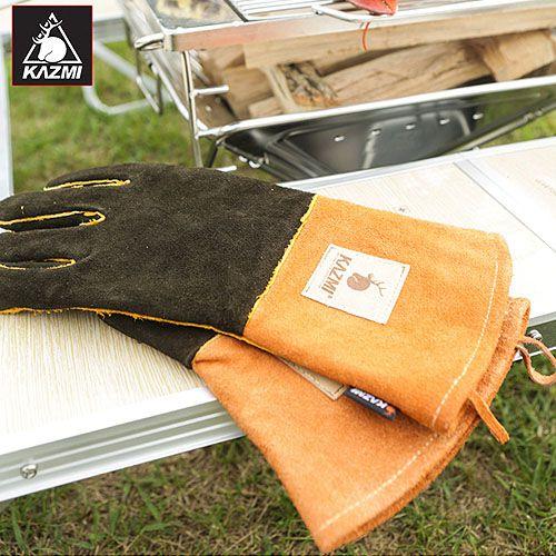 【露營趣】中和 KAZMI K3T3G007 隔熱皮手套 防燙手套 隔熱手套 烤肉 焚火台 荷蘭鍋 燒烤專用