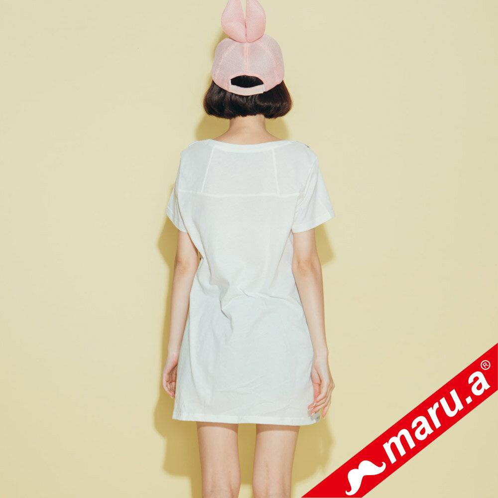 【maru.a】條紋拼接假吊帶長版T-shirt(2色)8321320 5