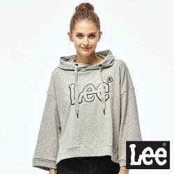 Lee 短版長袖LOGO帽TEE/RG-麻灰色-女款