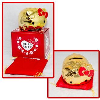 Hello Kitty 黃金陶瓷 小豬撲滿 日本帶回正版商品