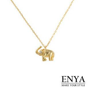 可愛立體小象水鑽項鍊 Enya恩雅^(正韓飾品^)~NESS6~