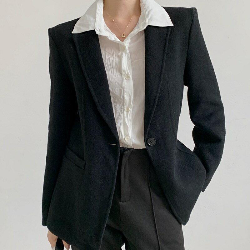 毛呢大衣羊毛外套-單粒扣修身翻領短版女外套3色73wb32【獨家進口】【米蘭精品】 0