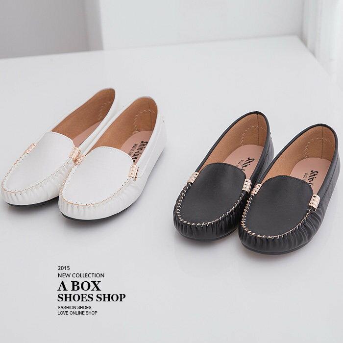 格子舖*【AI3919】MIT台灣製 基本款皮革素面金屬車線設計 休閒平底包鞋豆豆鞋 2色 1