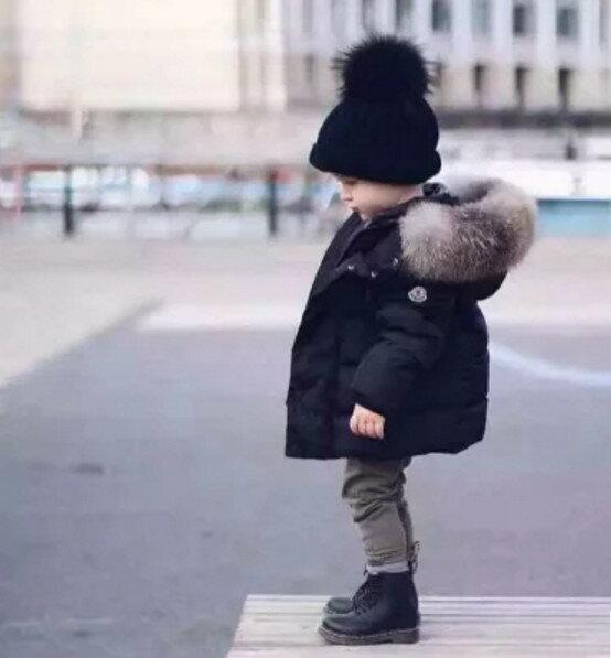 2016 歐美訂單新款男女小童中長款加厚棉大毛领外套