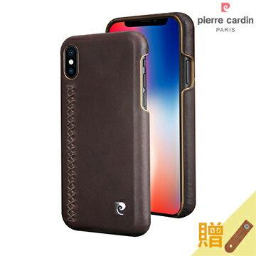 MEEKEE SHOP:[iPhoneX]PierreCardin法國皮爾卡登5.8吋手縫經典真皮手機殼深棕色