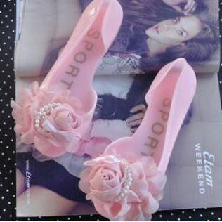 丁果 ~春夏 優雅珍珠花朵百搭果凍涼鞋 ~  好康折扣