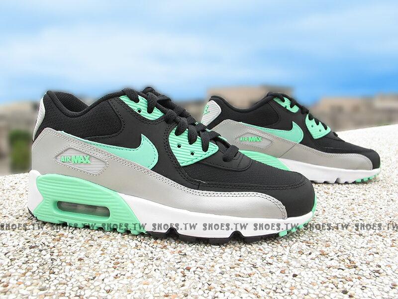 Shoestw【833340-003】NIKE AIR MAX 90 MESH (GS) 黑薄荷綠 氣墊 大童鞋 女生