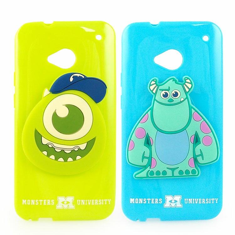 【Disney 】NEW HTC ONE 時尚大頭造型捲線保護套-毛怪/大眼仔