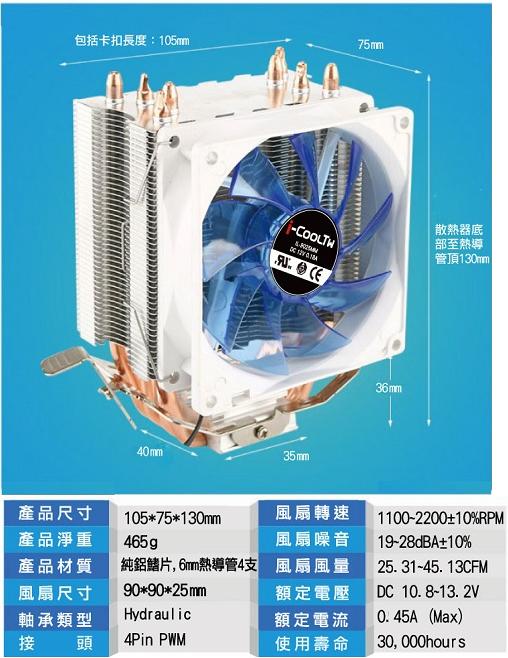 CP值冠軍 原廠公司貨  i-CoolTW龍捲風CPU散熱器 CPU 風扇 電腦組裝 機殼 原廠風扇 1