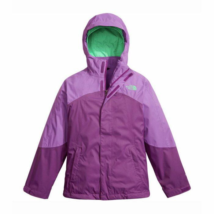 美國百分百【The North Face】防風 連帽 外套 TNF 保暖 夾克 兩件式 北臉 拼色 紫色 女 I803
