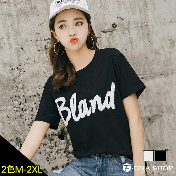 F-DNA★BLAND英文印花圓領短袖上衣T恤(2色-M-2XL)【ET12695】 0