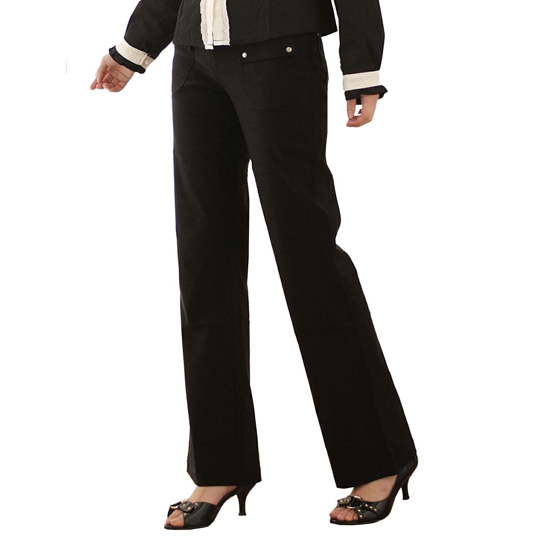 西裝褲--甜蜜愛戀的午茶時光-超彈性中腰素面銀扣直筒西裝褲(黑.咖S-7L)-P15眼圈熊中大尺碼 1
