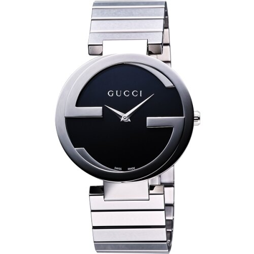 【GUCCI】Interlocking 時尚元素腕錶-黑/37mm(YA133307)