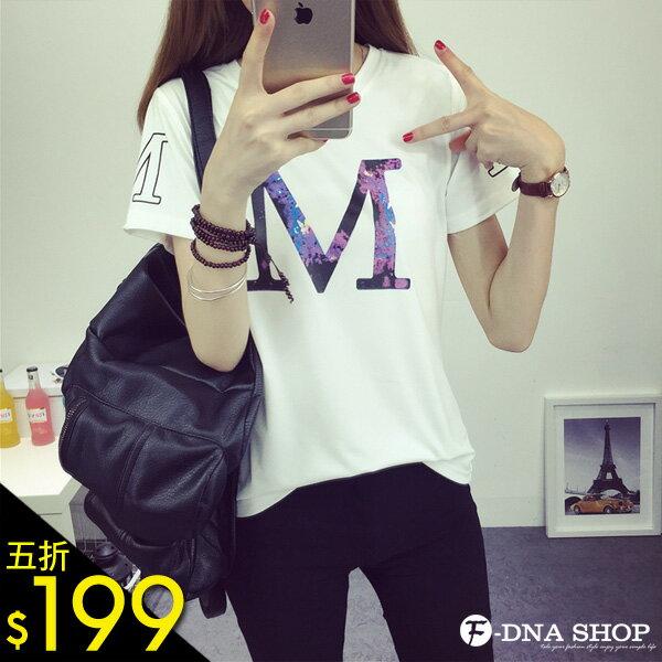 F-DNA★神秘暈染M字短袖上衣T恤(白-M-XL)【ESN1572】