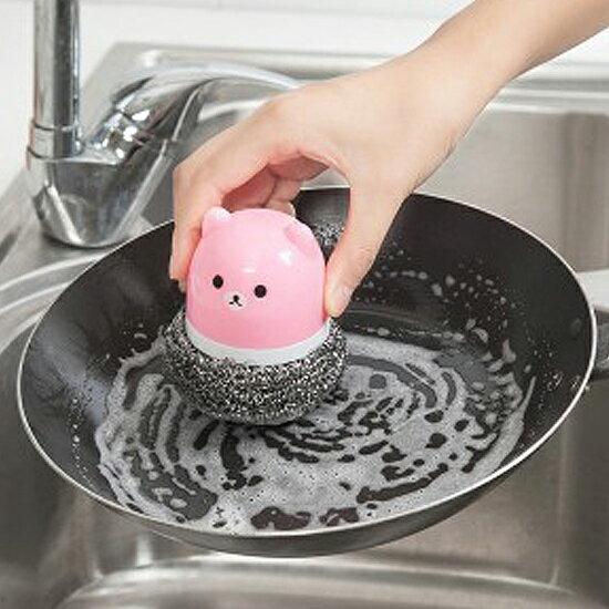 ♚MY COLOR♚卡通動物帶柄鋼絲球 球刷 廚房 鍋具 清潔 去汙 洗碗 餐具 刷子 油膩【N80】