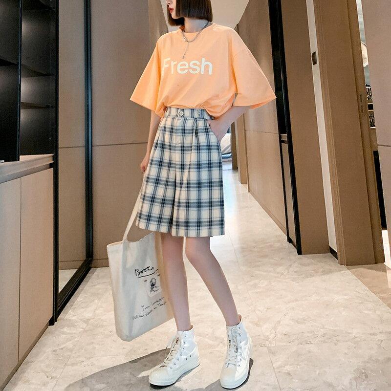 短褲女夏季薄款寬鬆直筒高腰外穿休閒褲2021新款潮ins格子五分褲