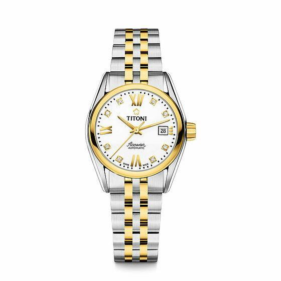 TITONI瑞士梅花錶23909SY-063空中霸王雙色經典機械腕錶/白面27mm