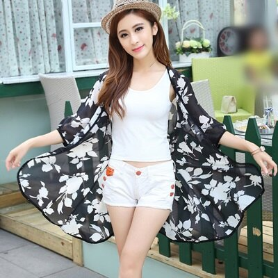 ~防曬外套抗UV罩衫~花朵修身中長款七衯袖女外套73eg8~ ~~米蘭 ~