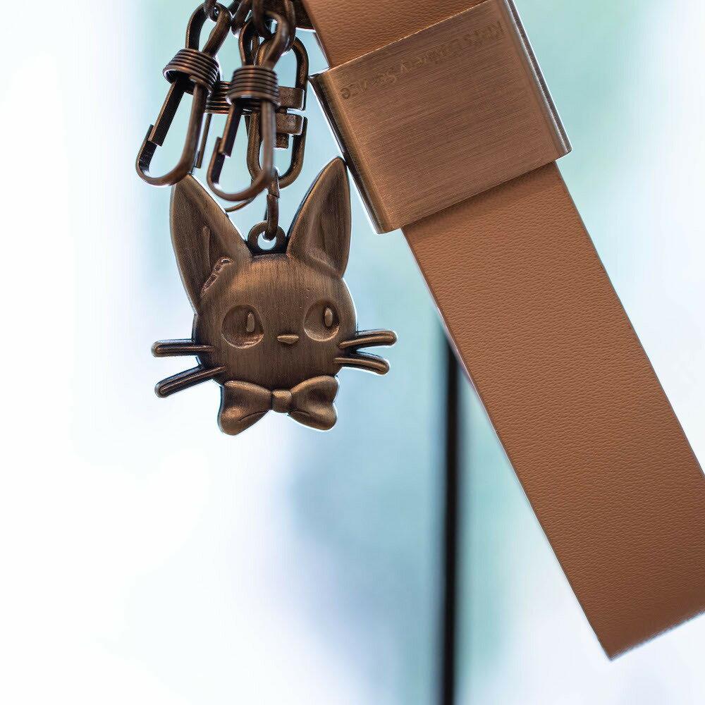 真皮革 古銅片 掛勾鎖圈 JIJI 黑貓 魔女宅急便 宮崎駿 收藏 擺飾 吊飾 鎖圈 鑰匙圈 掛飾 真愛日本