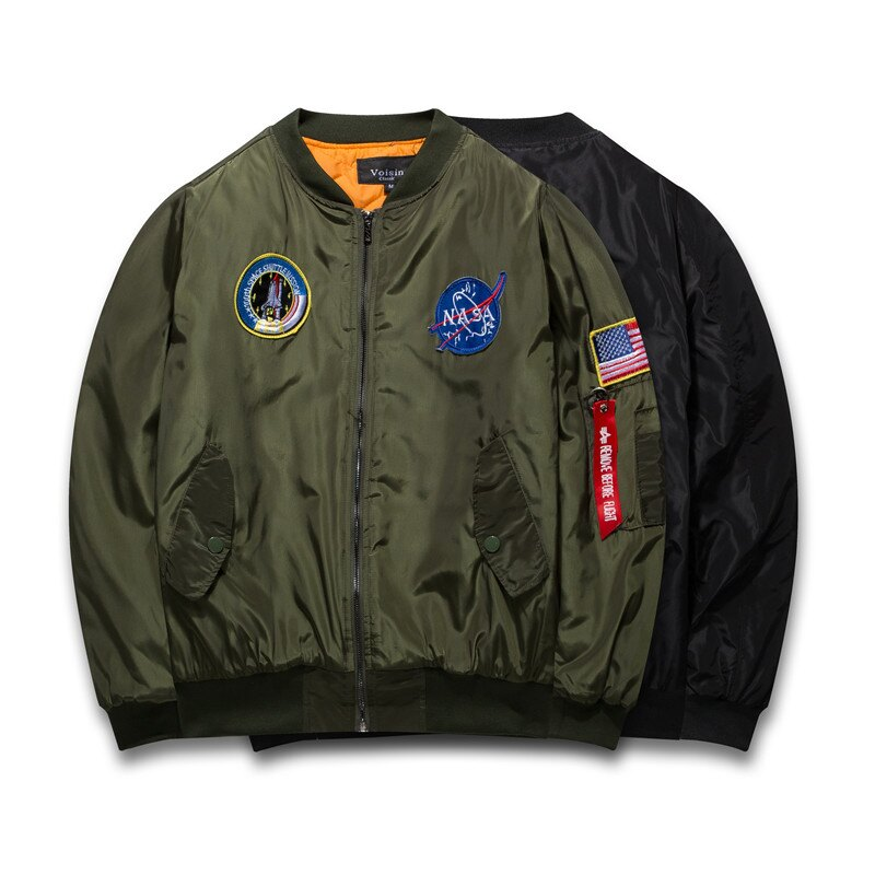 50^%OFF~A019099C~美國太空總署NASA火箭刺繡防風防潑水鋪棉超厚超保暖飛行