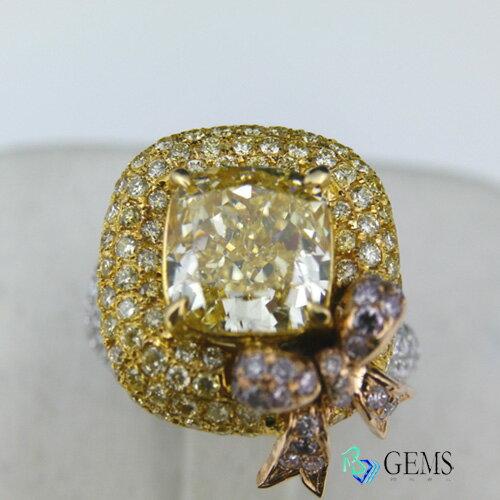 (售出)GIA認證彩鑽 禮物 5克拉高淨度黃鑽戒指 Radiant Gems閃亮寶石