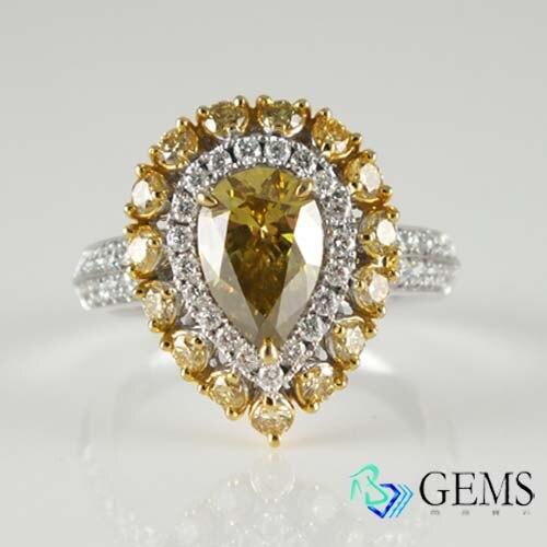 (售出)黃鑽戒指 1.22克拉 GIA彩鑽 Radiant Gems閃亮寶石