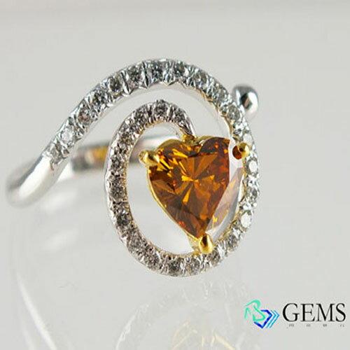 (售出)GIA認證彩鑽 真鑽 橘鑽愛心戒指 1.07克拉 Radiant Gems閃亮寶石