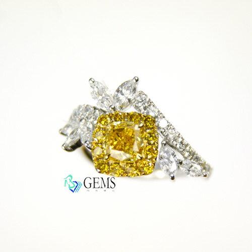 (售出)豔彩橘黃鑽戒 1克拉 fancy vivid 高淨度VS1 GIA彩鑽 Radiant Gems閃亮寶石