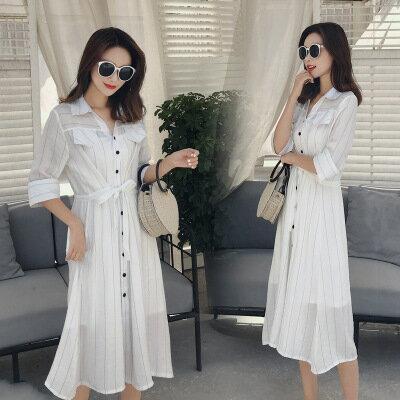 韓系女裝繫帶條紋收腰顯瘦兩件套裝白色襯衫裙連身裙洋裝樂天時尚館。預購
