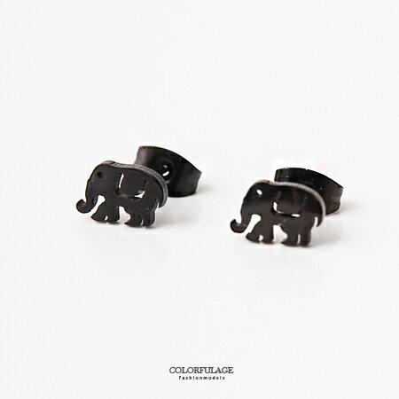 耳針耳環 可愛風 亮黑大象 鋼製耳環 抗過敏抗氧化 柒彩年代~ND289~一對