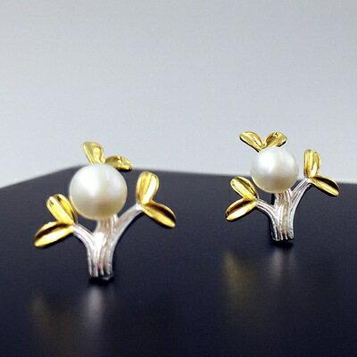 ~925純銀耳環珍珠耳飾~獨特 小樹 生日情人節 女飾品2色73gq3~ ~~米蘭 ~